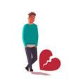 heartbroken sad man in depression life crisis vector image