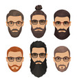 hipsters bearded men with different hairstyles vector image vector image