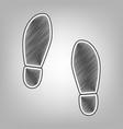 imprint soles shoes sign pencil sketch vector image