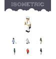 isometric people set of policewoman seaman vector image vector image