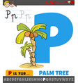 letter p from alphabet with cartoon palm tree vector image