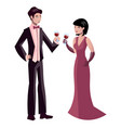 male and female couple in elegant clothes vector image vector image