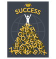 Man on top of Alphabets with Success vector image vector image