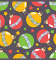 new year seamless pattern with colored chri vector image vector image