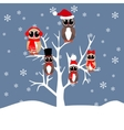 Owls family on the tree vector image vector image