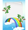 Paper design with rainbow and branches vector image vector image