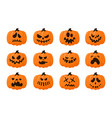 pumpkin faces scary halloween carved symbol vector image
