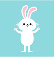 rabbit bunny standing and holding paw print hands vector image vector image