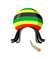 Rasta Cap with dreadlocks on white background vector image vector image