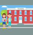 school and children with bags vector image vector image