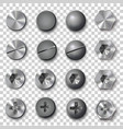 set of screws and bolts on transparent background vector image vector image