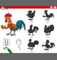 shadows task with cartoon rooster animal character vector image vector image