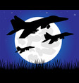 siuet warplane in the night vector image vector image
