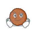 smirking chocolate biscuit character cartoon vector image vector image