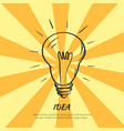 symbol of idea electric bulb sketch with light vector image vector image