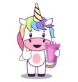 unicorn with juice on white background vector image vector image