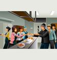 volunteers serving food to homeless people vector image vector image