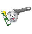 with beer pizza cutter knife isolated on mascot vector image vector image