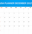 USA Planner blank for December 2017 Scheduler vector image