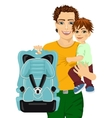 happy father holding his son and a car seat vector image