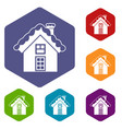 small snowy cottage icons set vector image