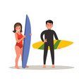 a man and woman are surfing vector image vector image