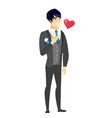 asian groom holding hand on his chest vector image vector image