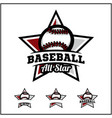 baseball ball all star badge logo vector image