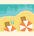beach with sun loungers and beach umbrellas vector image vector image