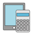 calculator math with tablet vector image