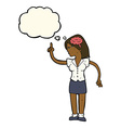 cartoon woman with clever idea with thought bubble vector image vector image