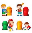 collection of the boy with the trash bin vector image vector image