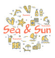 colorful icons in summer sea and sun theme vector image vector image