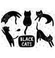 cute black cat set doodle kitten in different vector image
