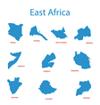east africa - maps of territories vector image