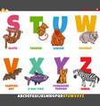 educational cartoon alphabet set with animal vector image vector image