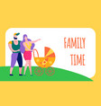 family time text flat cartoon motivation banner vector image