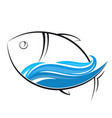 fish and wave silhouettes vector image