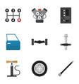 flat icon auto set of tire muffler automobile vector image vector image