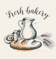 fresh bakery produkts and jug of milk vector image vector image