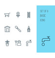 garden icons set with farmer pushcart plant pot vector image