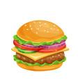 hamburger or cheeseburger cartoon icon vector image