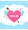 heart with wings and arrow vector image vector image