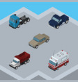 isometric car set of suv first-aid truck and vector image vector image