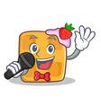 karaoke waffle character cartoon design vector image vector image