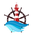 lighthouse and helm silhouette vector image