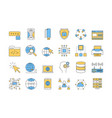 linear color icon set 3 - internet technology vector image vector image