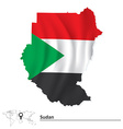 Map of Sudan with flag vector image vector image
