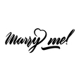 marry me lettering handwritten isolated on white vector image