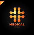 medical logo with cross icon abstract doctor tech vector image vector image